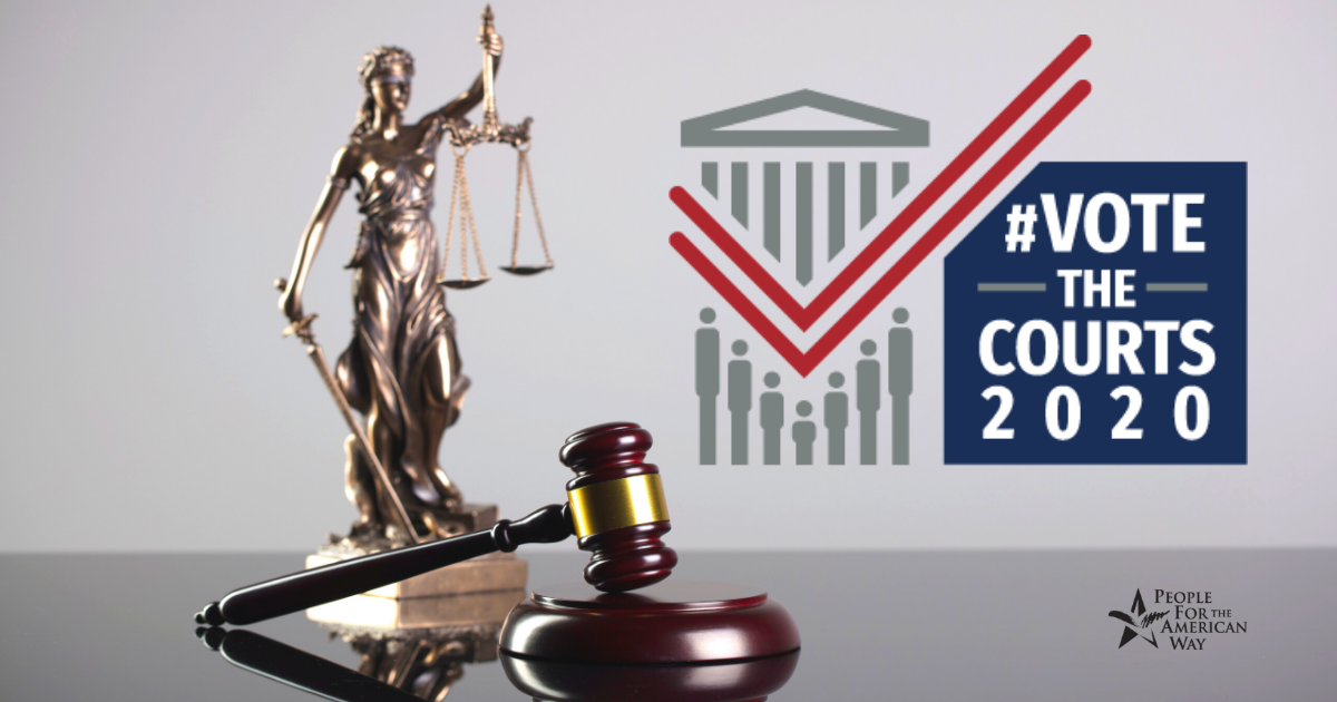 Vote the Courts 2020 logo, with image of Lady Justice behind a gavel.